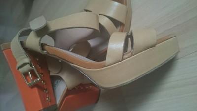 Skórzane sandały złote skóra naturalna paseczki massimo