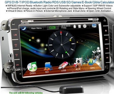 Oryginał Radio 8 cali VW PASSAT B6 SEAT SKODA nie Android - 6928053764 KC32