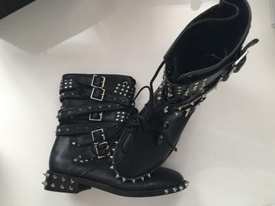 Czarna skórzane botki z kokardą klamrą ysl 35 42 Zdjęcie