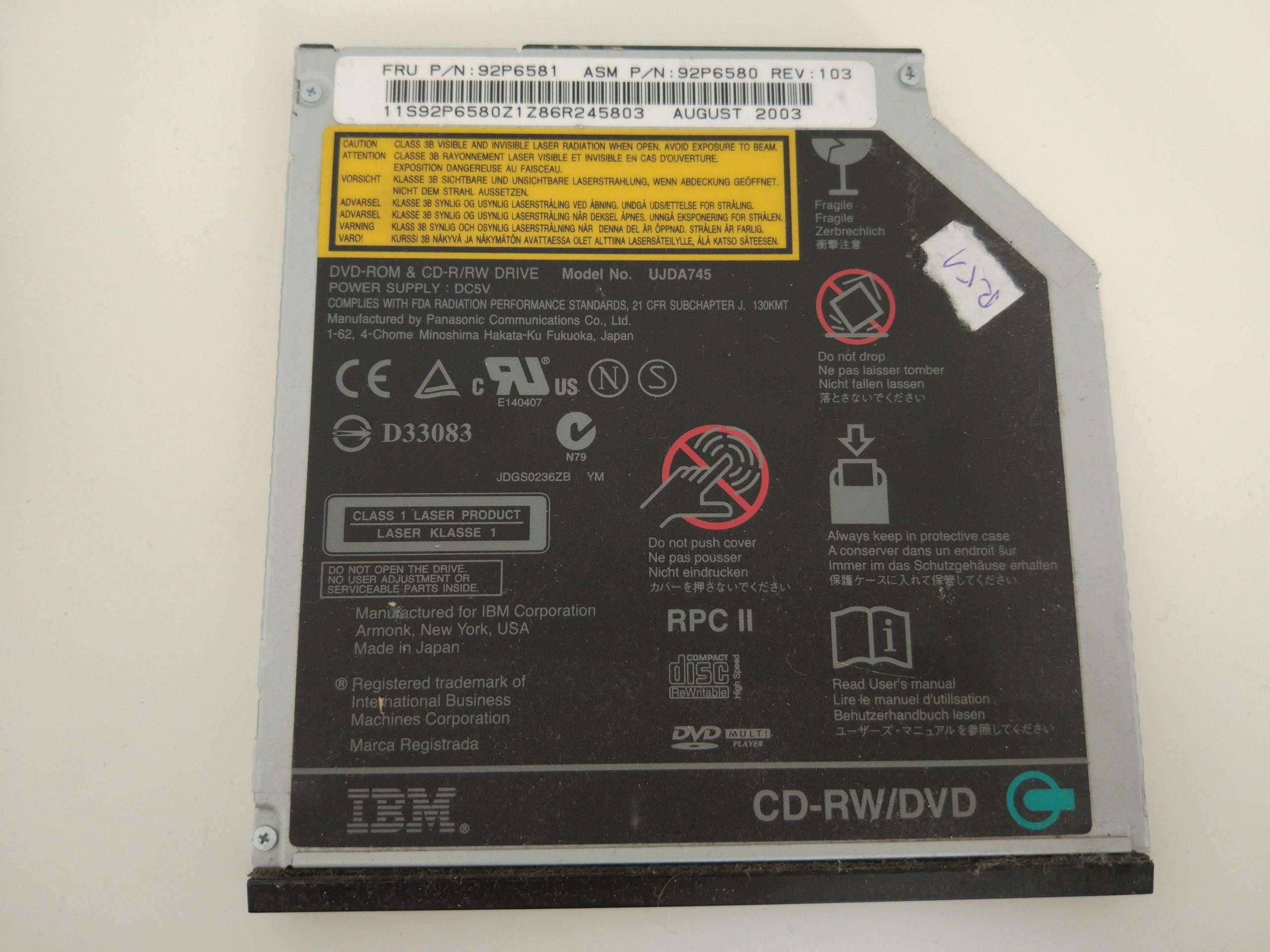 IBM THINKPAD R51 NAPĘD CD-RW/DVD FRU: 92P6581