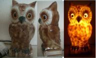 lampka nocna SOWA stara ciekawa porcelanowa
