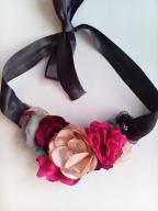 autorska kolia choker kolorowe kwiaty tiul 3d