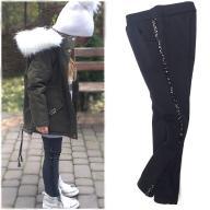 Ocieplane spodnie legginsy z cekiny 12-13L