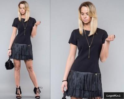 eb2e9b2fbe 442 Sukienka FRĘDZLE eko skóra DIAMOND czarna XS - 5889313571 ...
