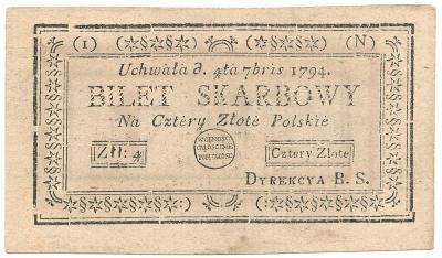 2321. 4 zł 1794 - odwrócony znak zabezpieczający
