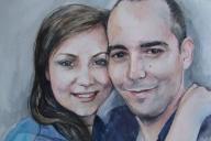 Portret ze zdjęcia akwarela A3 ślub urodziny