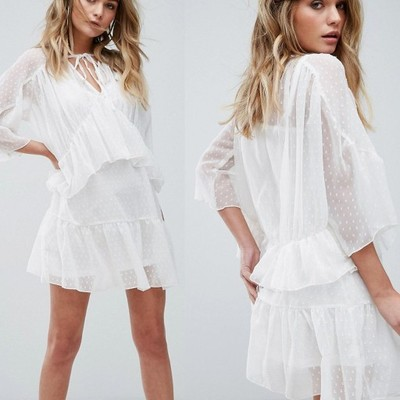 D5 Missguided Biała Sukienka mini siateczka 44