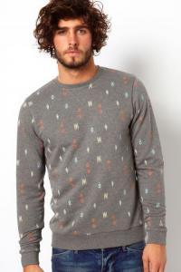 ASOS azteckie wzory szara bluza S/M