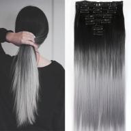 włosy synt Clip in ombre 140g czarne siwe 50cm