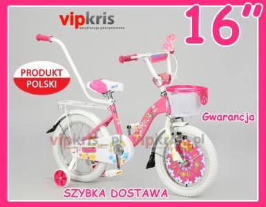 Polski ROWER 16 Dla Dziewczynki Rowerek MELIA róż