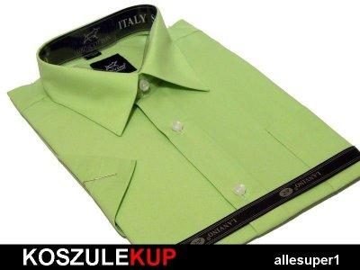 4243 Koszula męska pistacjowa zielona BAWEŁNA 6124360777  WiYAo