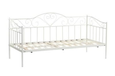 łóżko Metalowe Ze Stelażem Pojedyńcze 90x200 Białe