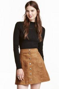 H&M brązowa spódnica guziki jesień