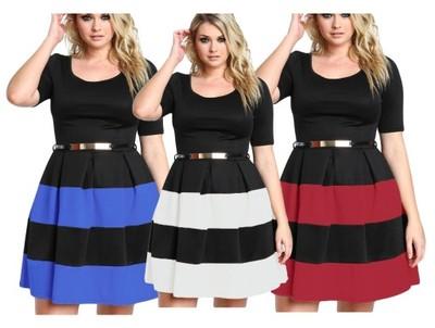 688502d22c Sukienka rozkloszowana dla puszystych 2806 r.44-50 - 6576000246 ...