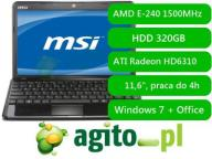 MSI U270-434PL E-240 2GB 320GB HD6310 Win7 HP 11.6