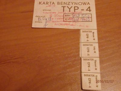 Kartka BENZYNOWA TYP - 4 FIAT 125p PRL Częstochowa