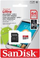 PAMIĘĆ SANDISK 64GB MICRO SD XC ULTRA ANDROID 80MB