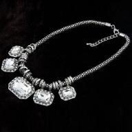 Naszyjnik kolia CHOKERS kryształ biały stare srebr