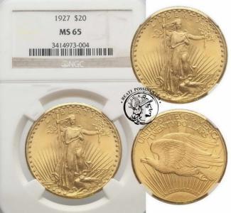 USA 20 dolarów 1927 Filadelfia NGC MS65