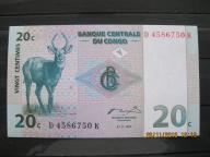83. Banknot   Kongo 20 centymów  UNC