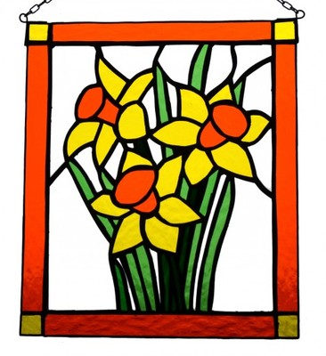 Ogromny Witraż żonkile kwiaty Tiffany - 6218845467 - oficjalne archiwum VI52