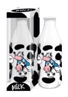 Butelka MILK z krową 1L Super krowa na MLEKO szkło