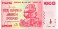 ZIMBABWE 100000000 Dollars 2008 P-80 UNC