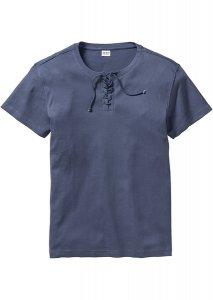 T shirt z ozdobnym sznurowaniem Regular Fit niebieski