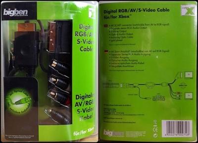 KABEL RGB AV S-VIDEO - XBOX- BIGBEN + ŚWIATŁOWÓD