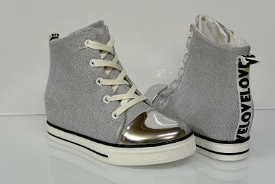 8a5e247a0d2d4 Botki sneakersy SREBRNE,koturn 30,31,(32),33,34,35 - 5982058143 ...