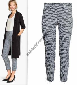 H&M spodnie niebieskie białe wzory 78 38(M)