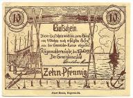 Banknot zastepczy - Darłowko - 10 Pfennig - 1921