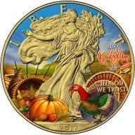 1$ USA 2017 Liberty Happy Thanksgiving Day 1 Oz