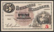 Szwecja - 5 koron - 1941 - stan 1/2    seria   A