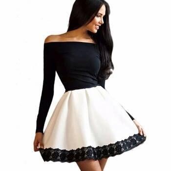 09c402884b Sukienka czarno biała ELEGANCKA SUKIENKA M - 6584331807 - oficjalne ...
