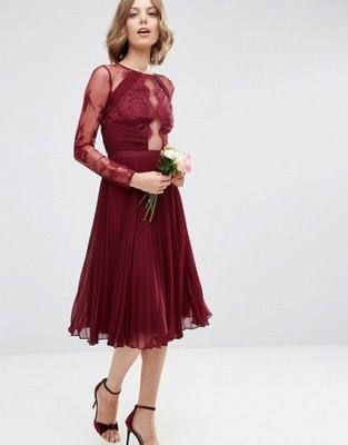 sukienka PLISOWANA midi BURGUND M 38 10