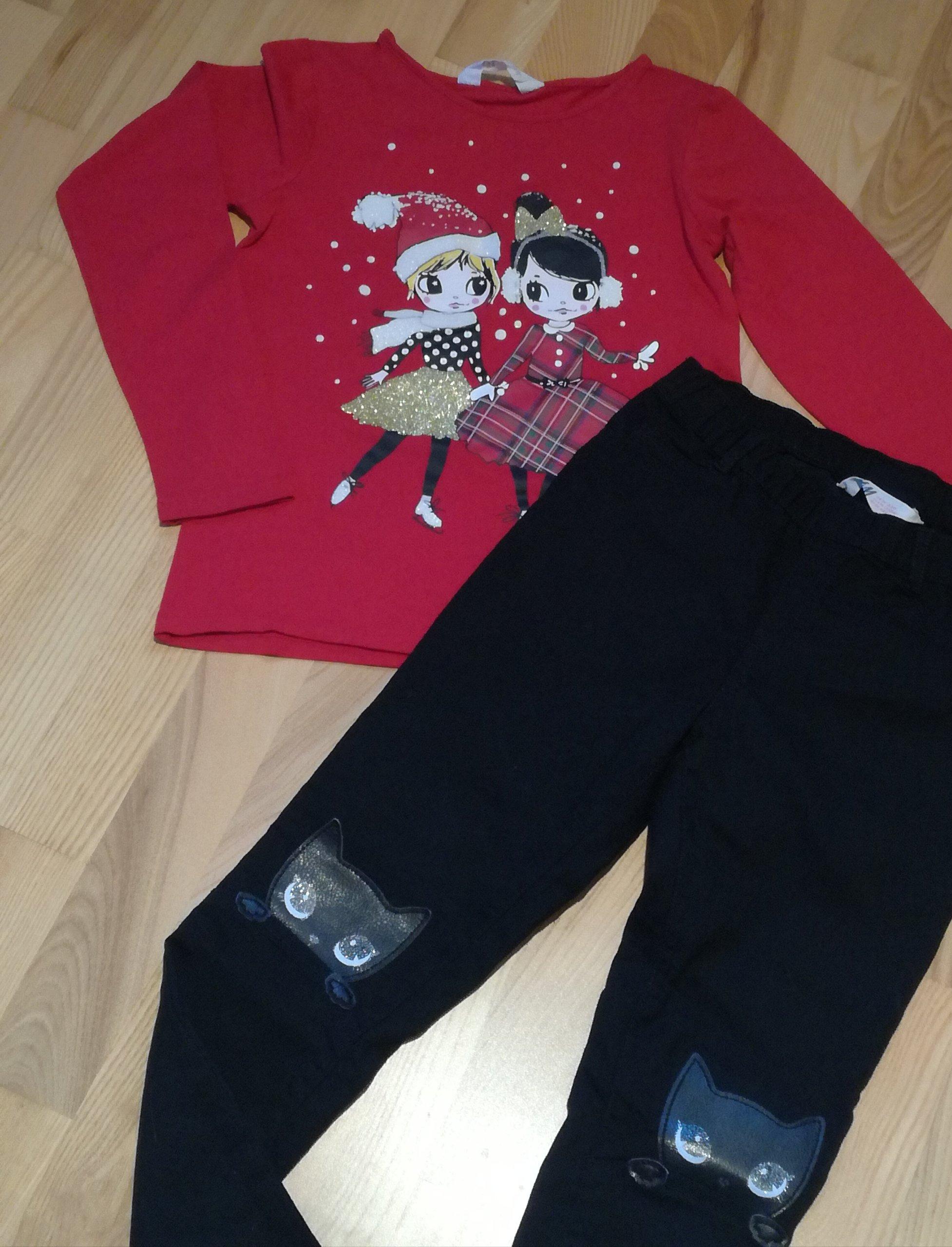 Bluzeczka świąteczna i spodnie H&M 128 6-8 lat