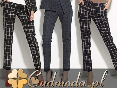 damskie eleganckie SPODNIE garnitur W KRATĘ 38 M