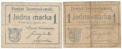 167. Inowrocław 2szt. 1 mk -z paskiem i bez- st.5+