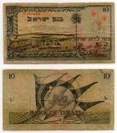 IZRAEL 1955 10 LIROT RZADKI LAMINOWANY