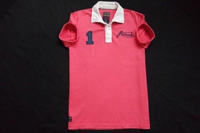 COTTONFIELD koszulka polo różowa logowana modna__L