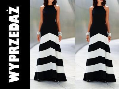 633175db3c Wieczorowa Koktajlowa Długa Sukienka w Paski M 38 - 5186469564 ...