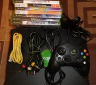 XBox, Pad, okablowanie, dysk, 10 gier