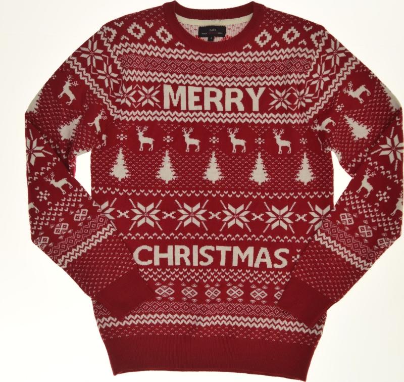 easy _ czerwony świąteczny sweterek we wzory _  S
