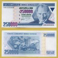 -- TURCJA 250000 LIRASI 1970(1998) I88 P211 UNC