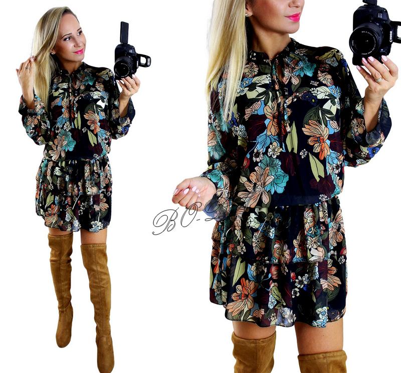 c5a0c4a813 ITALY Włoska CZARNA sukienka W KWIATY  SZYFON  S M - 7034791595 ...