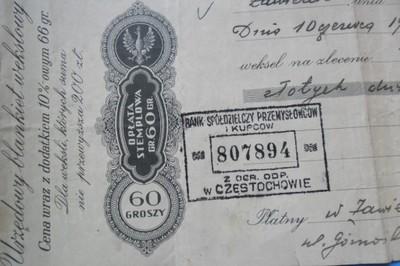 Weksel-Zawiercie 1938/39-200zł.Bank Sp.Przem.i Kup