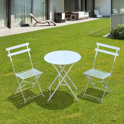 Meble Ogrodowe Metalowe Białe Stół I Dwa Krzesła