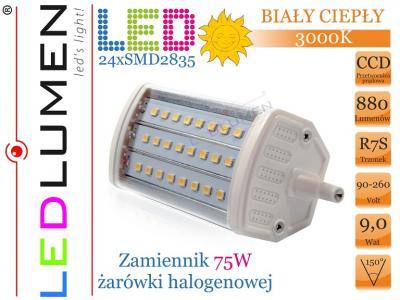 Żarnik R7s J118 24 LED 2835 SMD 880lm Ciepła CCD