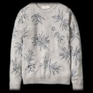 H&M sweter SZARY wełna print NADRUK NOWY L